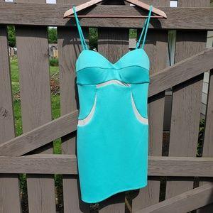 Bebe Size Medium Turquoise Spaghetti Strap Dress